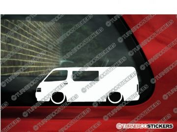 2x Low car outline stickers - Toyota HiAce H100 Van (with side window) JDM